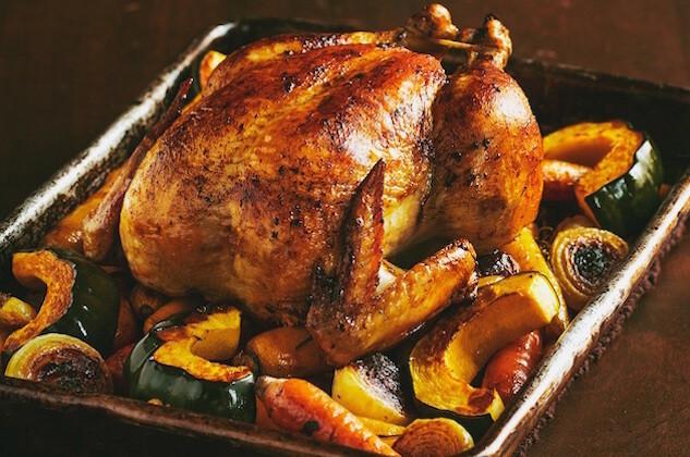 poulet roti et vin